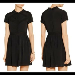 Maje Lace-trimmed crepe de chine mini dress. Black